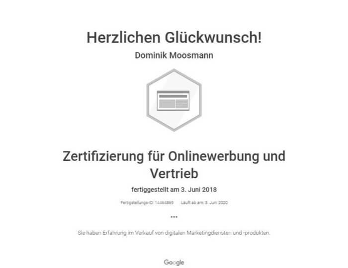Zertifizierung Onlinewerbung und Vertrieb