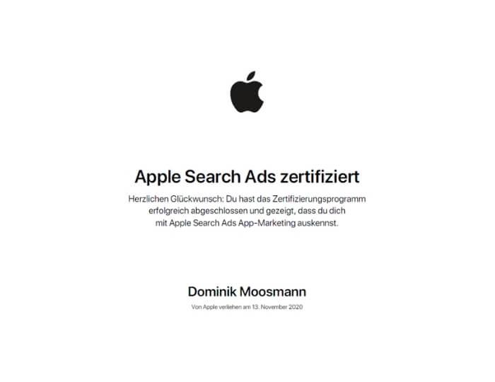 Apple Search Ads zertifiziert