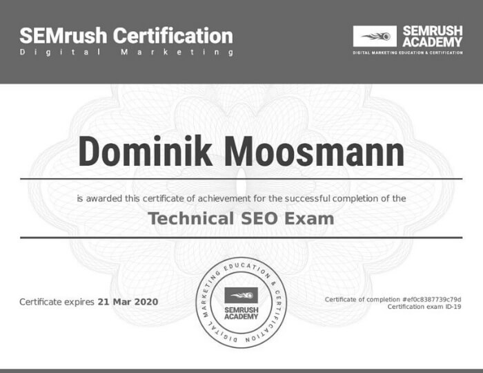 Technical SEO Certification